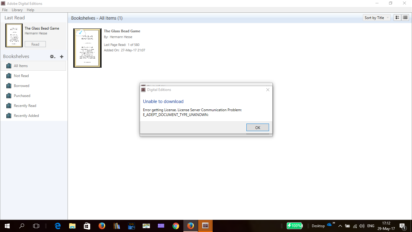 adobe digital editions unable to download error getting license