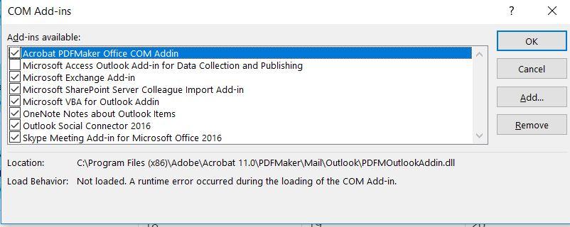 Solved Outlook 2016 Adobe Pdf Plugin Giving Run Time Erro Adobe Support Community 9235258