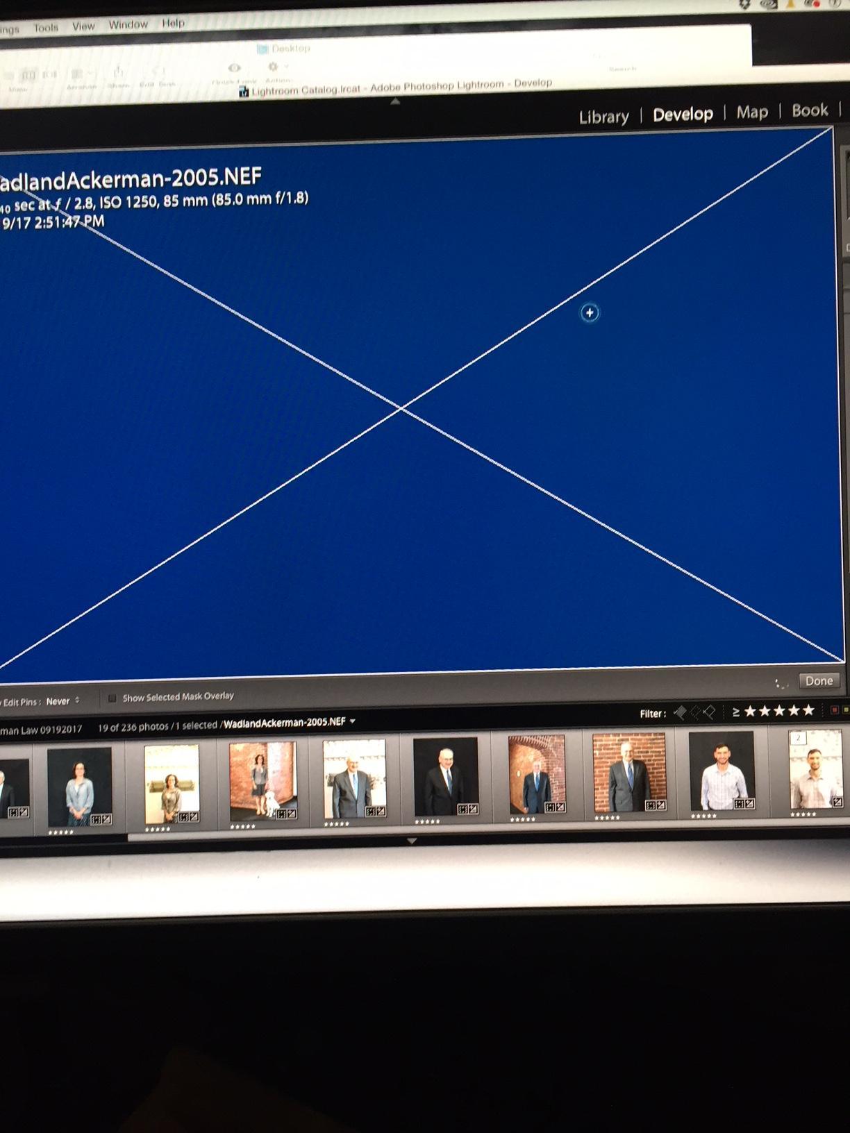 lightroom blue screen