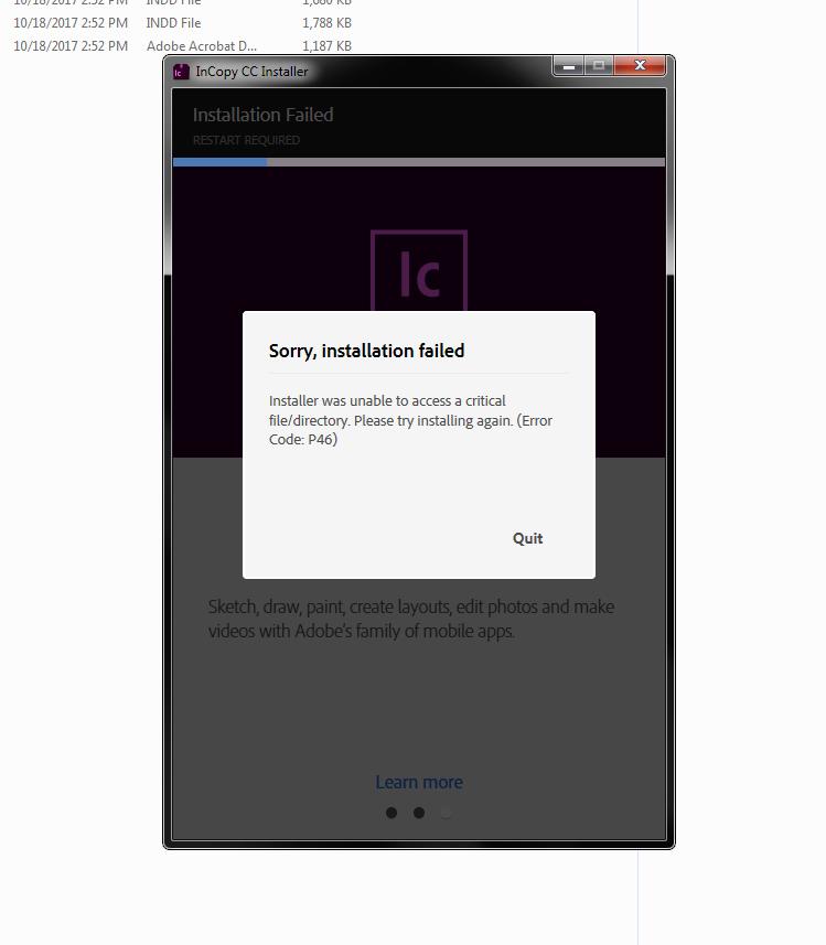 Solved Incopy Error Code P46 On Install Adobe Support Community 9446246