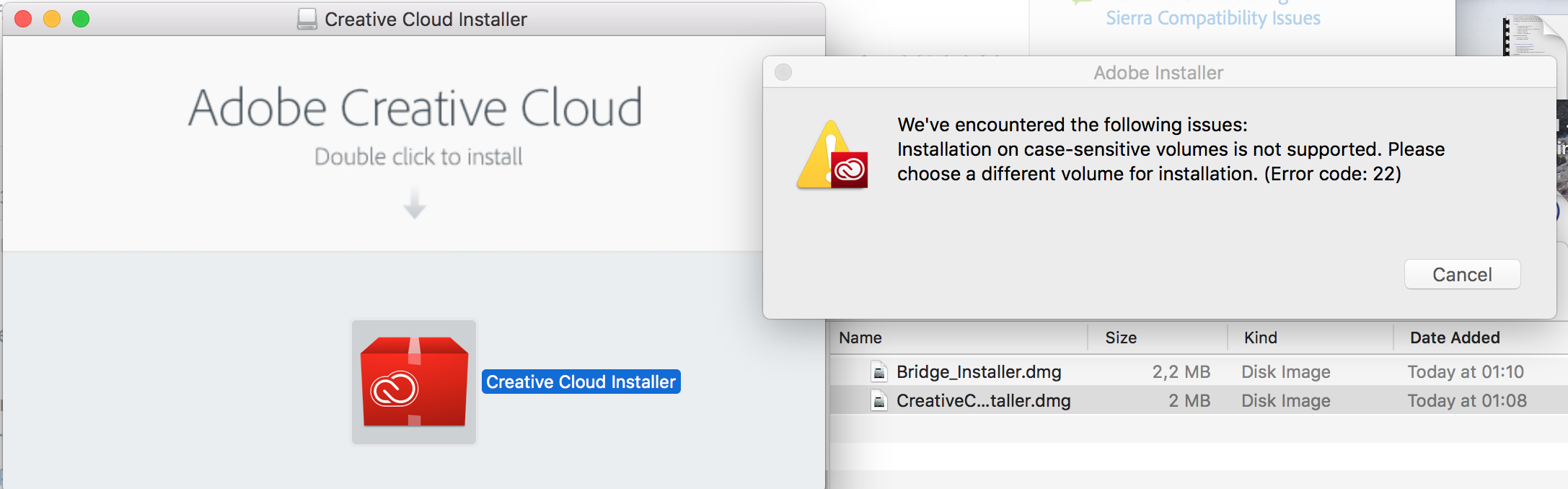 Solved: No Creative Cloud installers support Mac APFS file