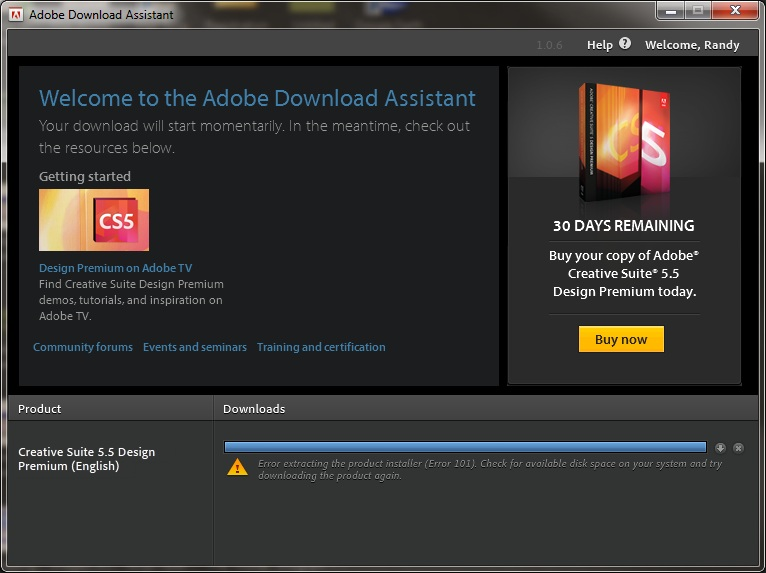 Error 101 When Trying To Download Using The Adobe Adobe Support Community 3925118