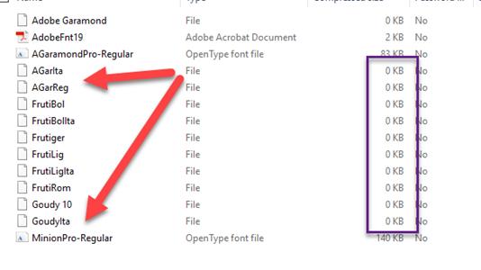 Solved: Somer packaged fonts are zero K (frutiger) InDesig