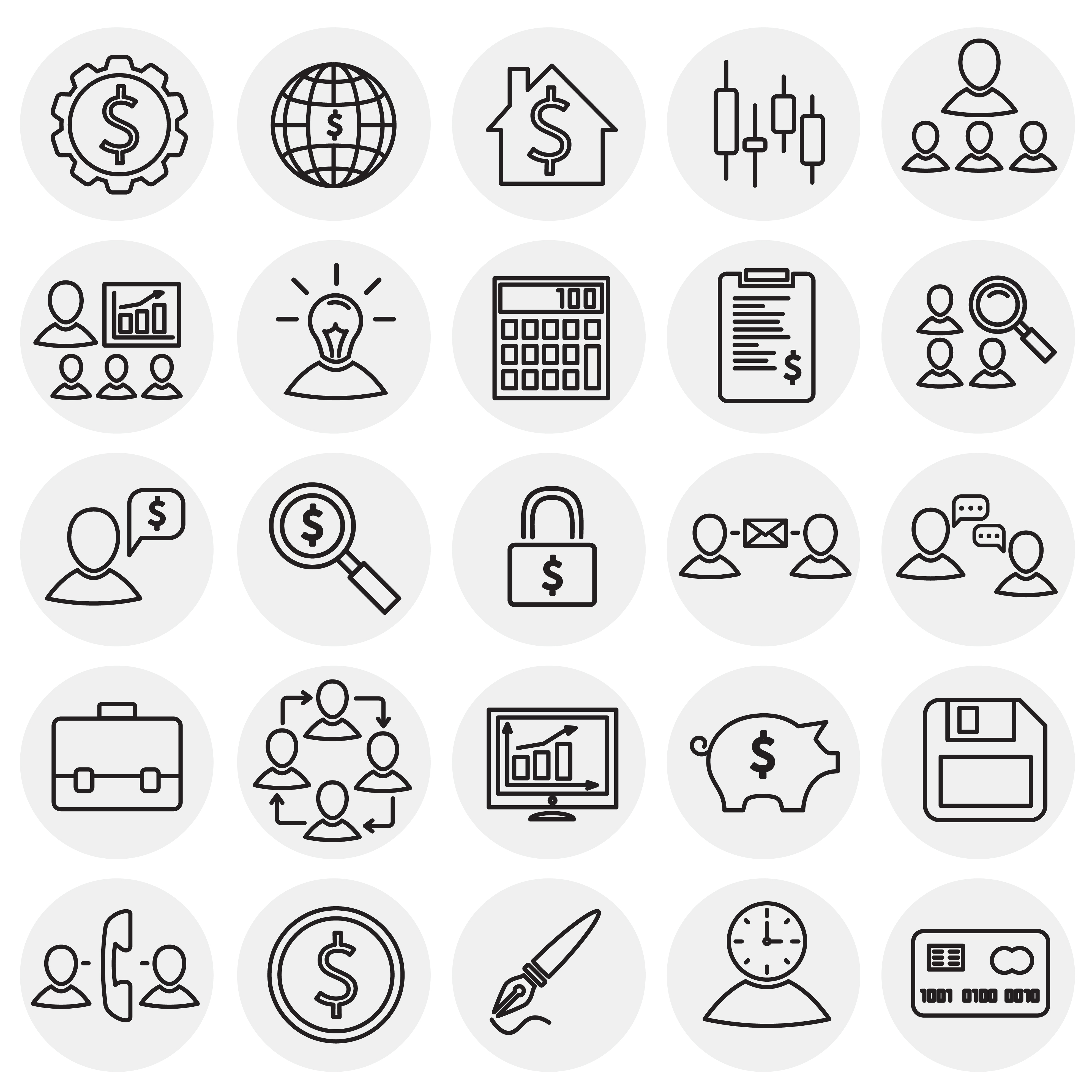 Business thin line icons set on circles white background.jpg