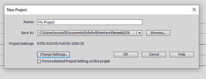 New Project WARNING!  Opens in NTSC.png