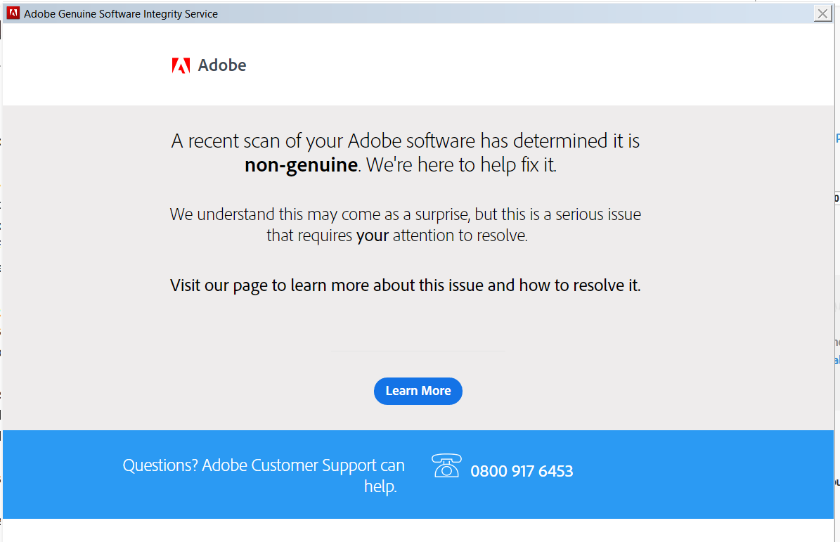 the adobe software is not genuine fix