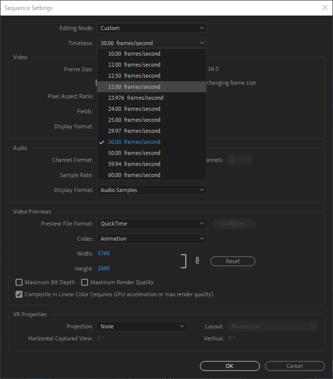PR Sequence Setting Dialog Box showing Timebase Pop-up Menu.png