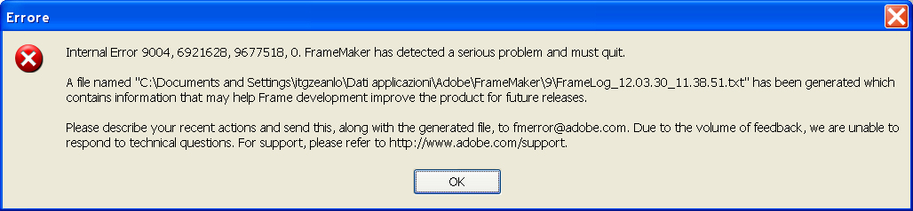 Internal error while creating pdf files - Adobe Support