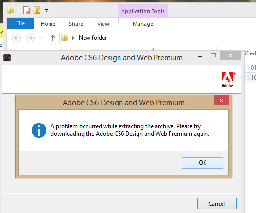 Solved Cs6 Windows Extractor Keeps Giving Me Errors When Adobe Support Community 6078559