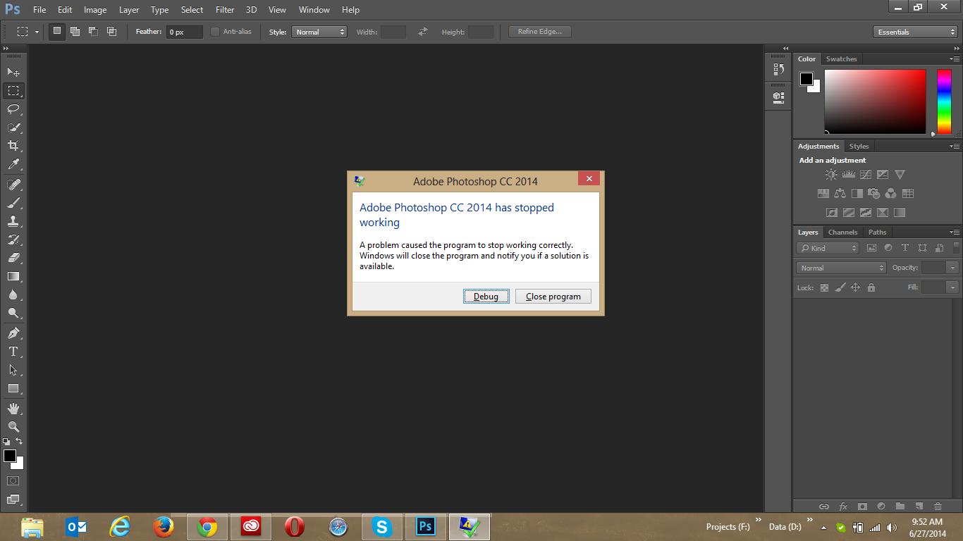 Photoshop cc keeps crashing