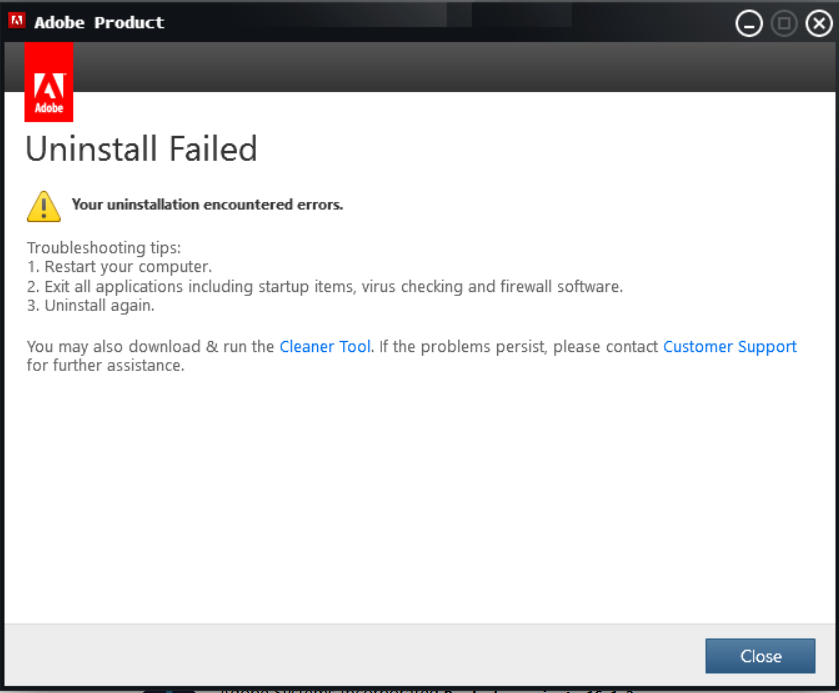 adobe install failure.PNG