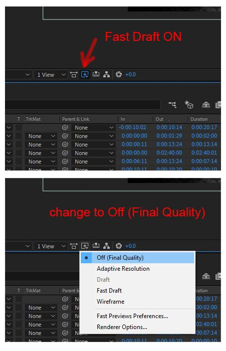 """Fast Draft ON (icon toggled). Click it and change the setting to """"Off (Final Quality)""""."""