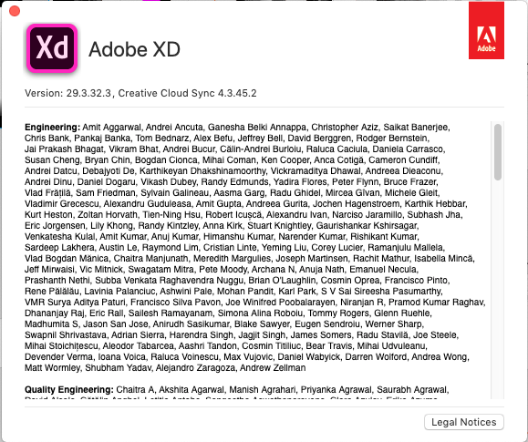 Screenshot of Adobe XD About page