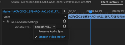 Check to see if Premiere Pro detects the clips as a VFR Clip