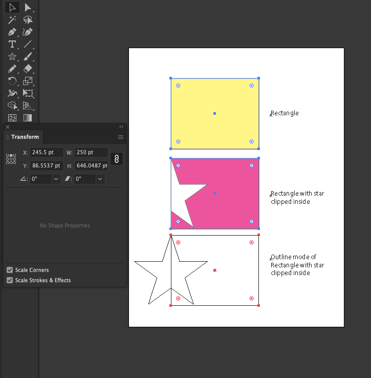 """in this image, the yellow box is a plain rectangle 250pt wide. the pink box is a clipping mask 250pt wide with a star inside that is clipped by the mask. The bottom is a duplicate of the clipping mask shown in """"outline mode""""."""