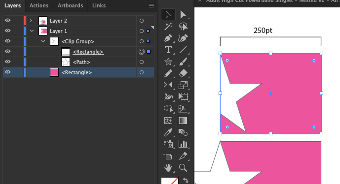here, i've selected just the clipping path of this clip group. this is a pageItem just like any other, so you can query the height/width properties of this path which will give you a result that matches the values in the UI transform panel