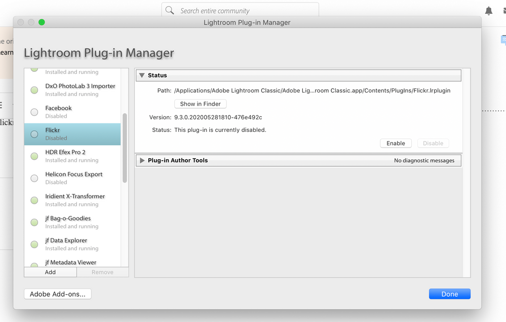 Plug-in Manager, a Plug-in disabled