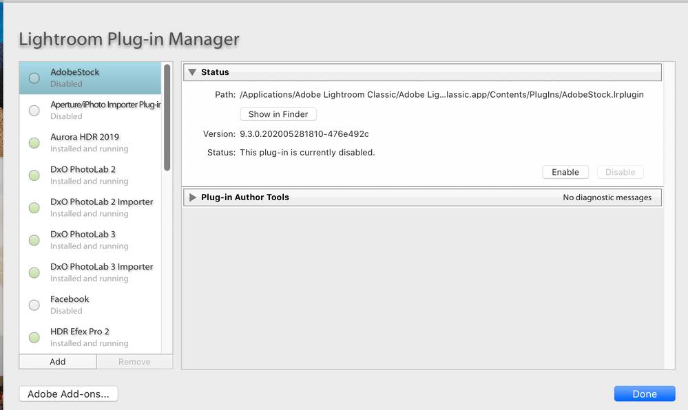 Plug-in Manager post LrC restart