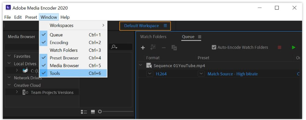 Switch between multiple workspaces using the new Tools bar