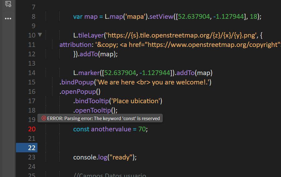 Example of const error