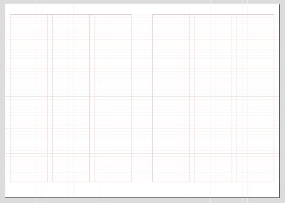 """Empty page design grid with a correctly set """"baseline grid"""""""