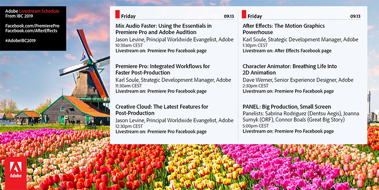 Friday schedule for the Adobe booth at IBC 2019—Amsterdam!