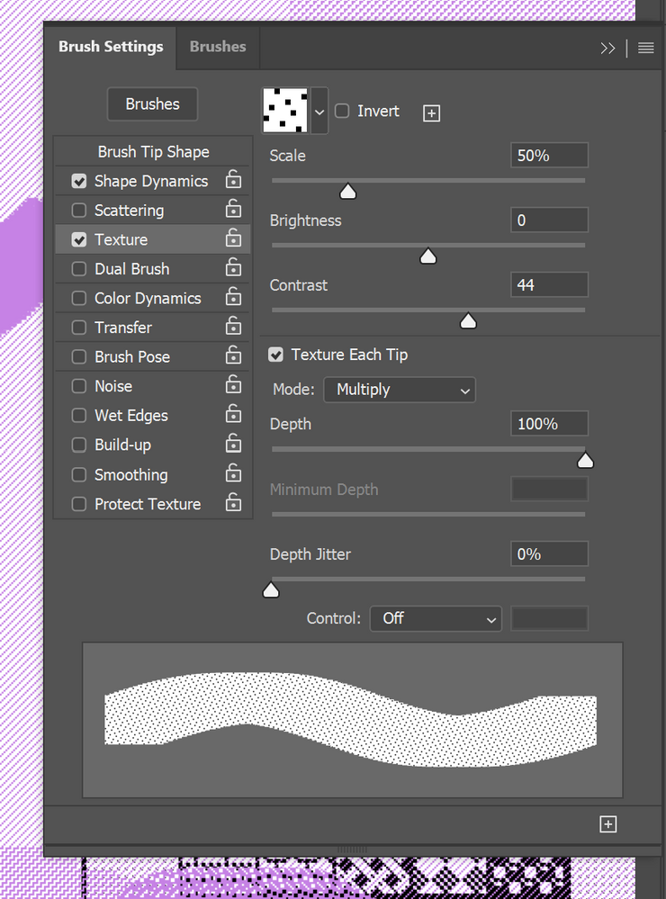 Brush Settings for one of the brushes