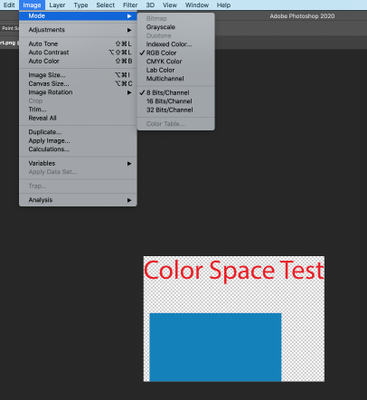 Photoshop shows the image is RGB