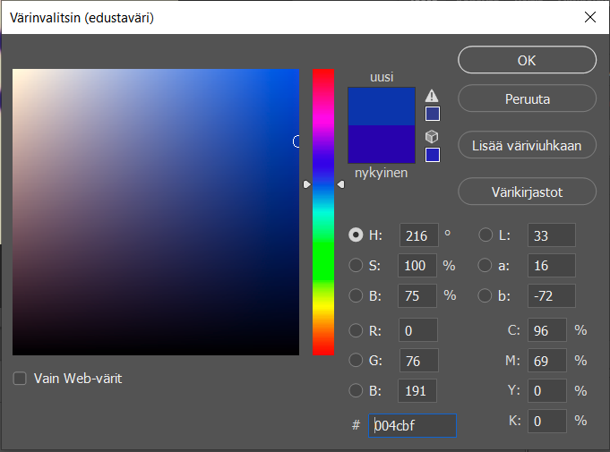 Here's my color picker, on the left side it shows red when normally it'd be grey.