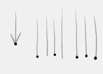 Making brush strokes from top to bottom with pressure sensitivity on.