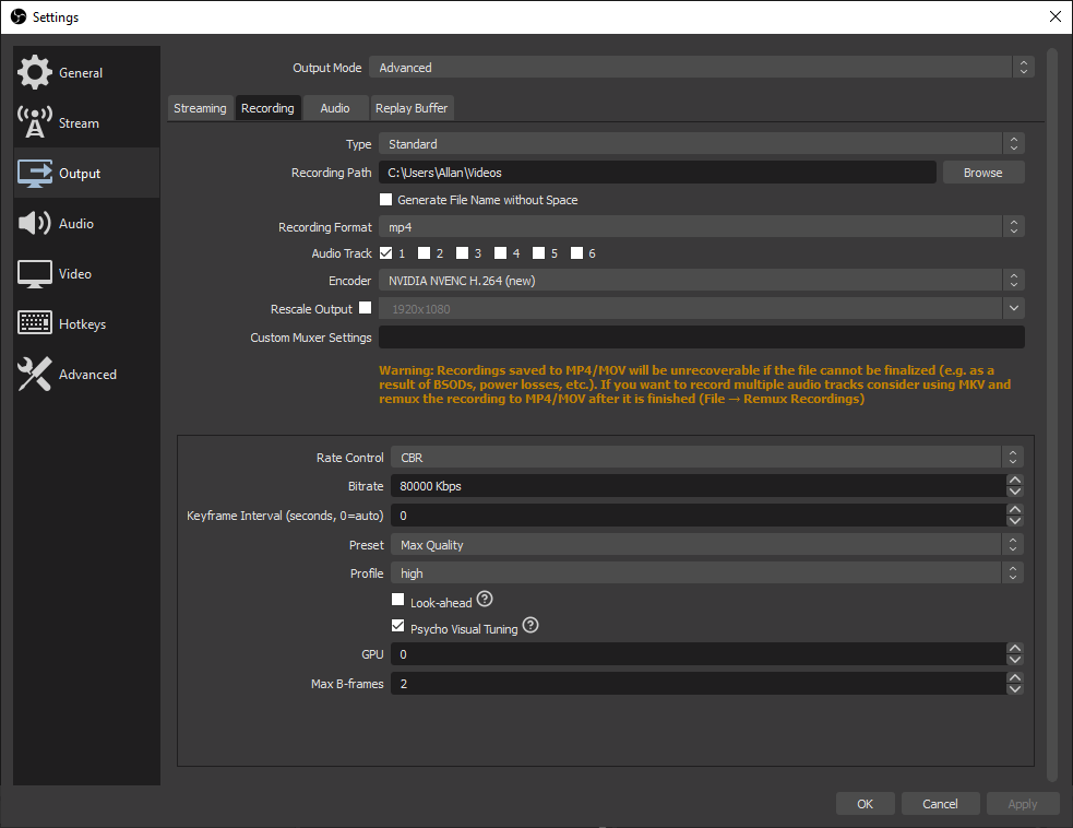OBS Settings Recording