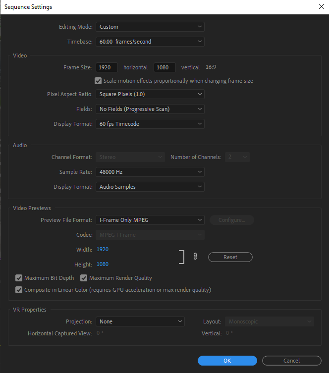 Premiere Sequence Settings