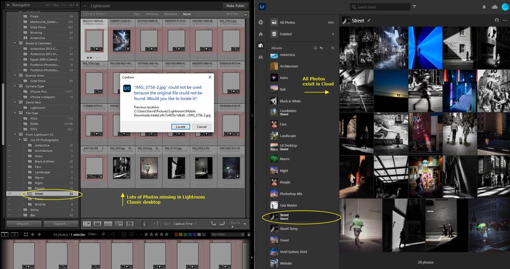 Example folder. Desktop (missing) vs Cloud (available)
