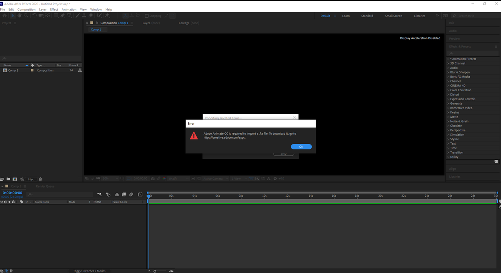 Error message for imported mov file