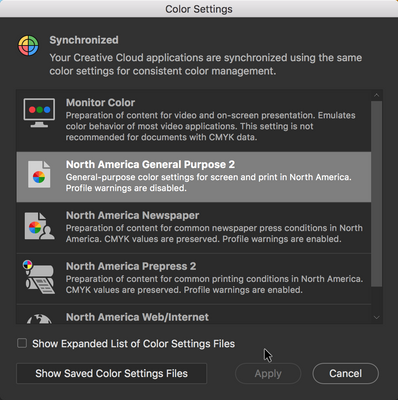 Color Settings in Adobe Bridge