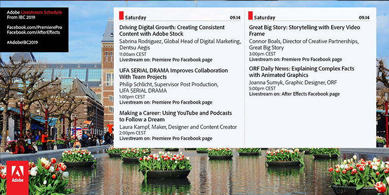 Saturday schedule for the Adobe booth at IBC 2019—Amsterdam!