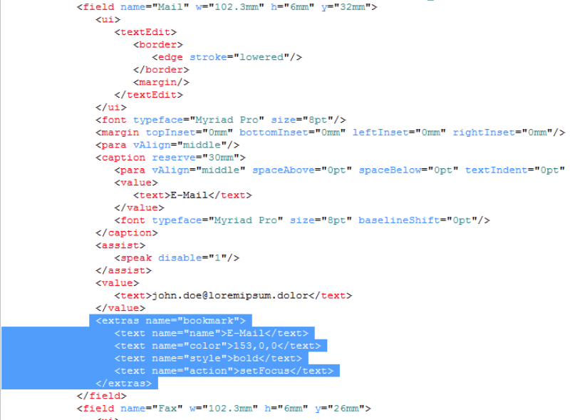 Bookmark element in XML source