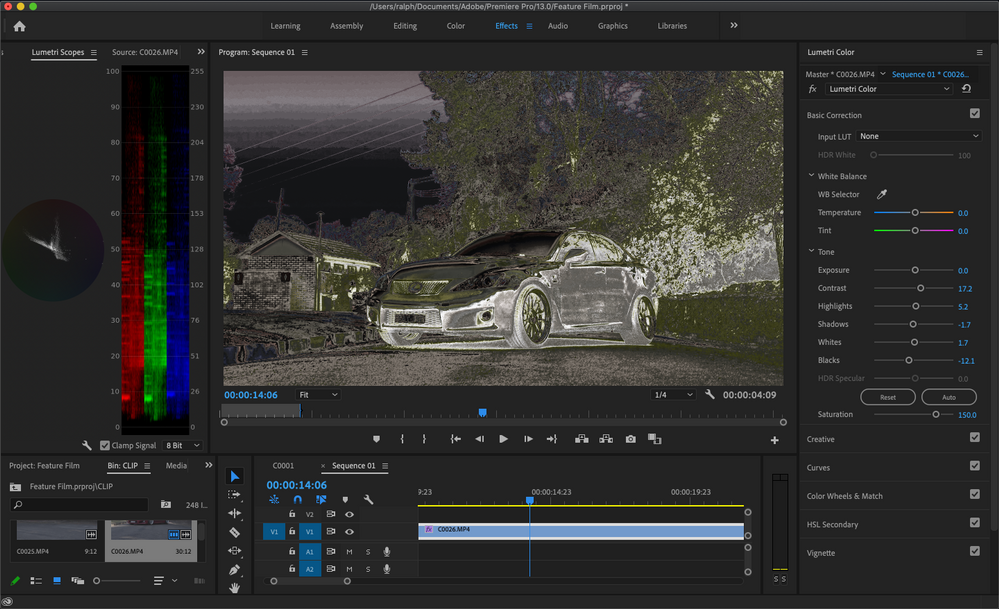 After: Once applied in premiere pro