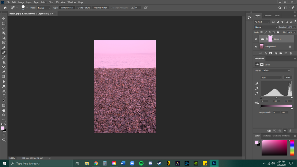 pink image and pink mask layer