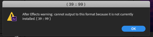Error message when trying to pre-render or export