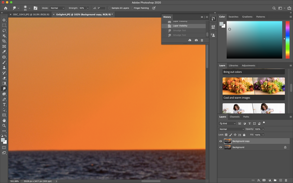 that harsh line between the brighter and the darker orange is what I am referring to in my post