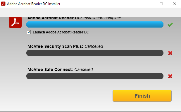 i am irritated by the unwanted mcafee downloads. so i cancelled the whole installation while adobe is downloaded an installing and the otheres were to be installed