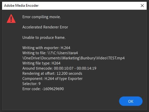 adobe media encoder 'error compiling movie' message.JPG