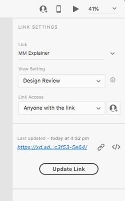 link settings panel