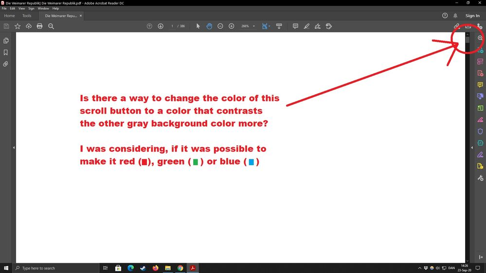 How to change color of the scroll button in adobe acrobat Reader DC.jpg