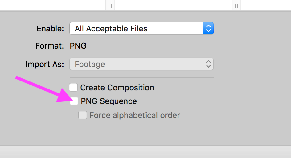 AE Import Options with Image Sequence OFF.