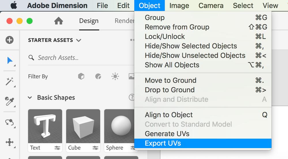 02 Object > Export UV