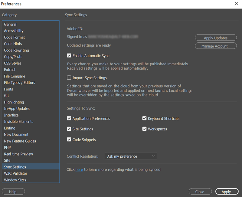 Change to Import Sync Settings