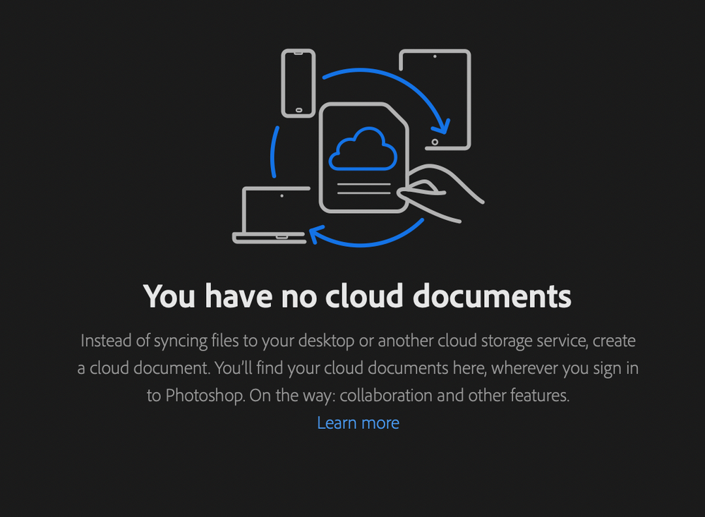 Cloud documents tab on Photoshop home showing no cloud documents.png