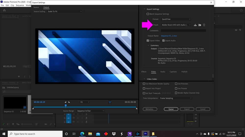 PR - Export Settings . Format QuickTime - Preset Adobe STock UHD with Audio.png